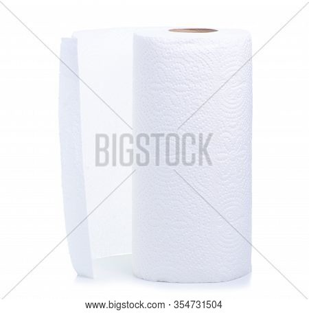 Roll White Paper Towel Napkin On White Background Isolation