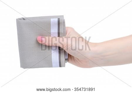 Handkerchief In Hand, Studio Photography Of Nose Rag On White Background Isolation