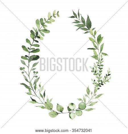 Watercolor Oval Wreath With Greenery Leaves Branch Twig Plant Herb Flora Isolated On White Backgroun