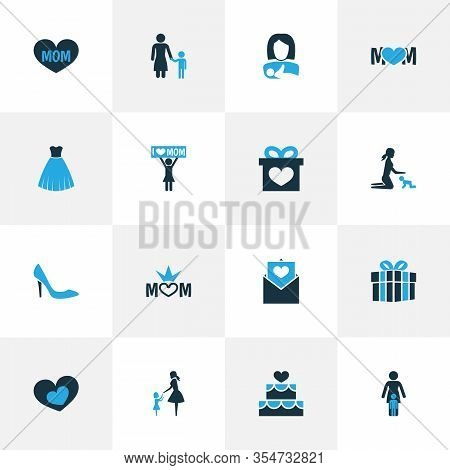 Mothers Day Icon Colored Design Concept. Set Of 16 Such Elements As Shape, Madame And Mum. Beautiful