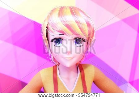 Artistic 3d Illustration Of A Toon Girl