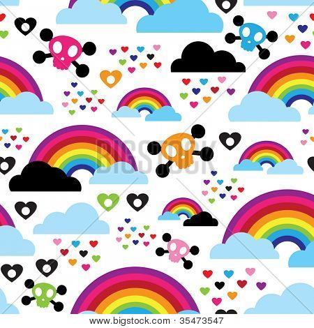 Seamless teenage emo rainbow skull background pattern in vector