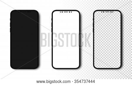 Smartphone Mockup. Phone With Black, White And Transparent Screen. Cell Phone With Different Screens