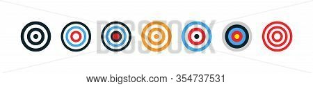 Target Collection. Target Vector Icons, Isolated On White Background. Targets Different Shapes And C