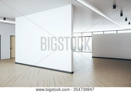 Minimalistic Hall Interior With Blank White Wall. Performance And Presentation Concept. 3d Rendering