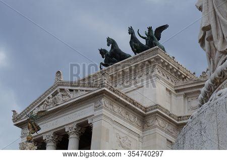 Rome, Italy - October 15, 2019:  The Victor Emmanuel Ii National Monument Or Altare Della Patria In