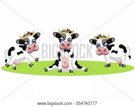 Drawing Of Three Different Cows, Funny, Baby Spotted Animals. In Minimalist Style. Cartoon Flat Rast
