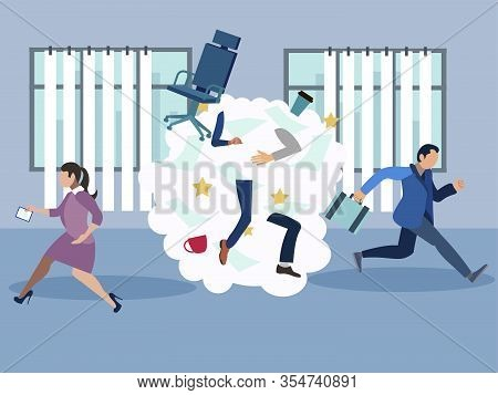 Office Brawl, Scandal, Employees Flee From The Place Of Negativity. In Minimalist Style. Cartoon Fla