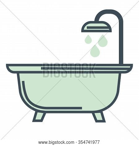 Bathtub And Shower, Hotel Room Bathroom Isolated Icon