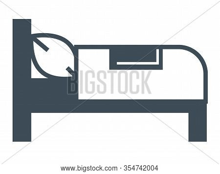 Hotel Bed Isolated Icon, Bedroom Furniture, Booking Room