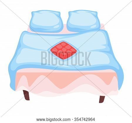 Linen Or Bedding, Pillowcases And Blanket With Bedsheet, Isolated Icon