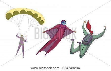 Parachute Jumpers Floating In The Sky With Open And Closed Air-chute Vector Set