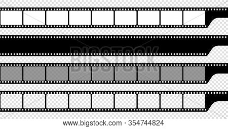 Seamless Film Strips On Transparent Background. Vintage Cinema And Photo Tape. Retro Film Strips. Ro