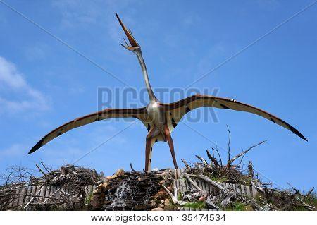 Quetzalcoatlus, classification - Pterosauria, length - 14 m, weight - 200 kG. Model of dinosaur in Jurassic park in Leba, Poland.