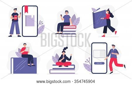 Set Of Illustrations On E-books And Reading Themes. Boys And Girls Reading Paper Or Electronic Books