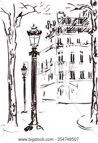 Graphic Black And White Drawing Paris Champs Elysees