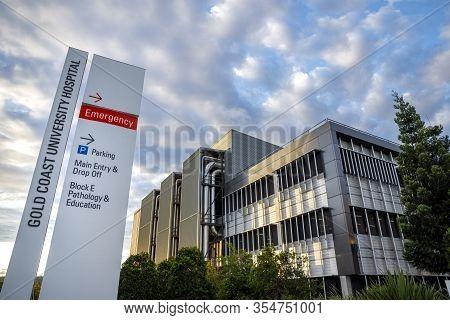 Gold Coast, Australia - March 8, 2020: Gold Coast University Hospital Coronavirus Quarantine Centre