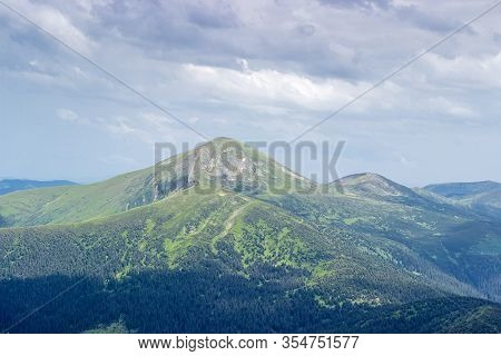 Mountain Hoverla In The Carpathian Mountains In Summer. View Of West Slopes From The Mount Petros, U