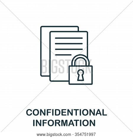 Confidential Information Icon From Cyber Security Collection. Simple Line Confidential Information I
