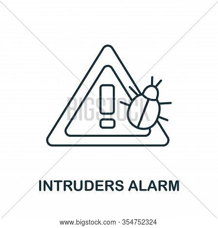 Intruders Alarm Icon From Cyber Security Collection. Simple Line Intruders Alarm Icon For Templates,