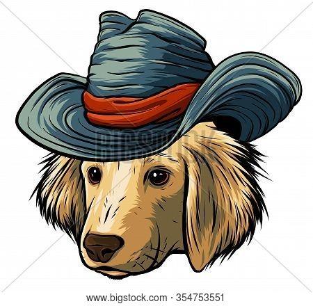 Vector Serious Cartoon Hipster Dog Labrador Retriever In A Gray Silk Hat
