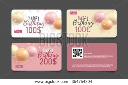 Happy Birthday Greeting Gift Cards Set With 3d Round Balloons And Monetary Award, Girlish Pink Style