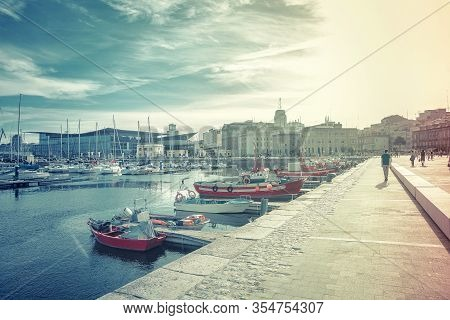 A Coruna, Spain - July 24, 2019: The Spanish Port Located In The City Of A Coruna In The Province Of