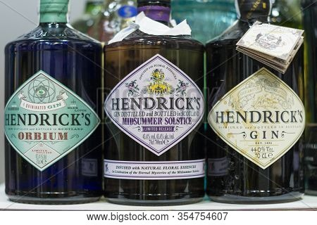 Valencia, Spain - February 22, 2020: Shelving In A Pub With Bottles Of Hendricks Gin, Scottish Brand