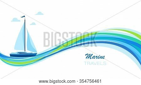 Sailing Yacht. Vector Poster With Yachts On The Sea Wave And Place For Text. Transport, Leisure, Par