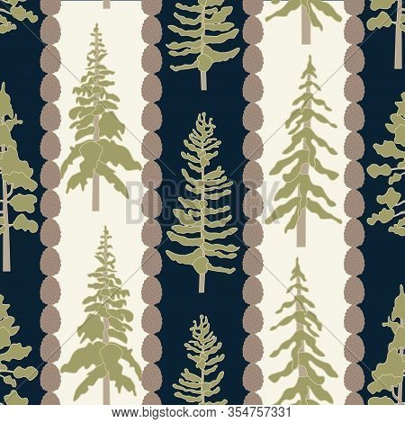 Vector Green Trees And Pinecones On Beige Blue Stripes Seamless Repeat Pattern. Background For Texti