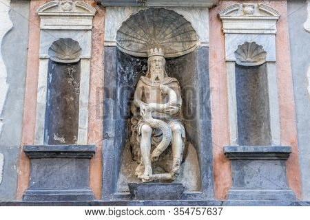 Palermo, Italy - May 8, 2019: Statue Of Genio Del Garraffo - Genius Of Palermo In Loggia Area Of Pal