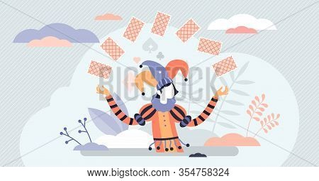 Jocker Card Game Character Concept, Flat Tiny Person Vector Illustration. Abstract Life And Business
