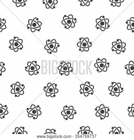 Seamless Vector Pattern Of Atom Model With Proton And Electrons.