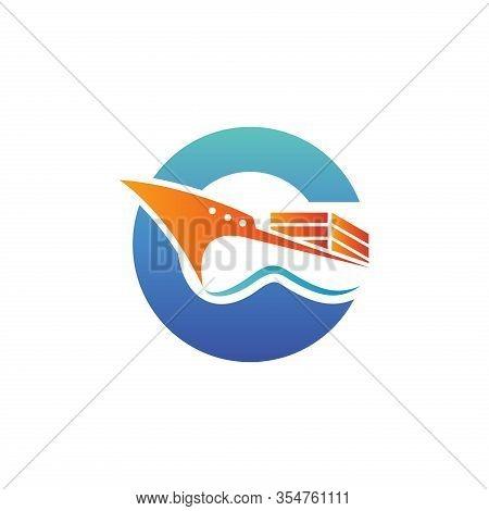 Boat Logo. Yacht Logo. Cruise Ship Logo Template Vector Icon Illustration Design. Ship Logo. Nautica