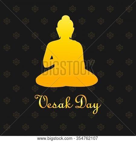 Happy Vesak Day Buddha Purnima Banner With Gold Buddha Sign On Dark Background Vector Design Vector