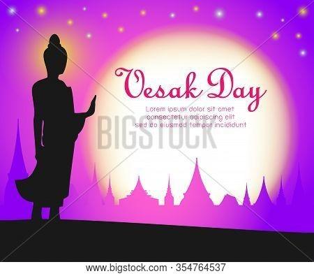 Vesak Day Banner Card With Silhouette Buddha In Full Moon Night, Buddha Purnima Banner Background Ve