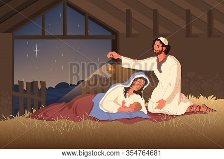 Bible Narratives About The Nativity Of Jesus. Mary, Joseph And Baby Jesus