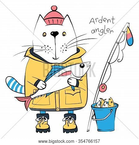 Vector Cartoon Cat Fisherman, Ardent Angler, In Traditional Fishing Clothes With A Big Fish, Fishing