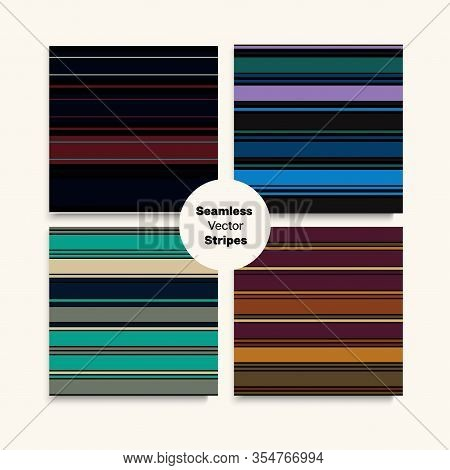 Sailor Stripes Seamless Pattern Set. Funky Lines Endless Texture. Elegant Fashion Background Autumn