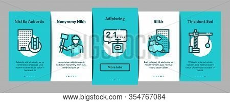 Demolition Building Onboarding Mobile App Page Screen Vector. Crane With Wrecking Ball And Fence, Ha