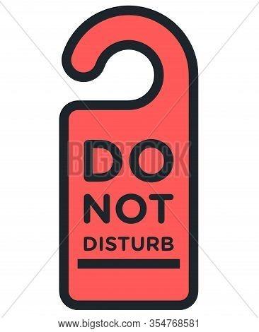 Do Not Disturb Red Sign Hang Door Motel Hotel Illustration