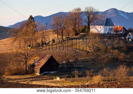 Gothic Church In A Village Of Turiec Region, Slovakia.