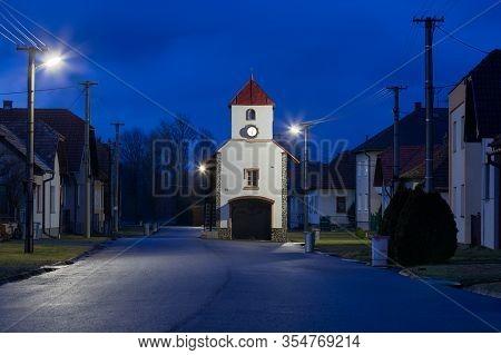 Tower In Borcova Village Of Turiec Region, Slovakia.