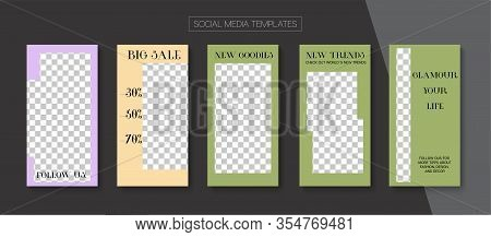 Social Stories Cool Vector Layout. Blogger Simple Concept, Social Media Kit Template. Online Shop Gr