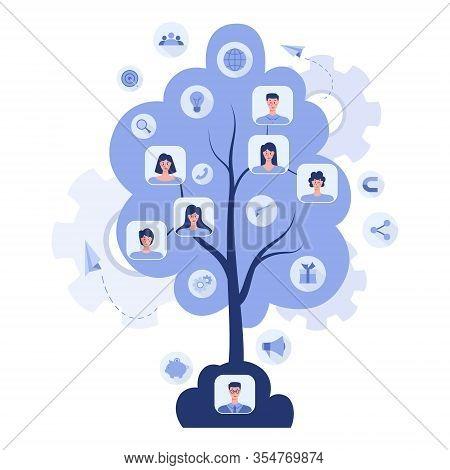 Referral Program Concept. A Tree As Metaphor Of Referral Marketing