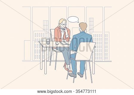 Meeting, Interview, Service, Hr, Business Concept. Businesspeople Businesswoman, Man Employer Employ