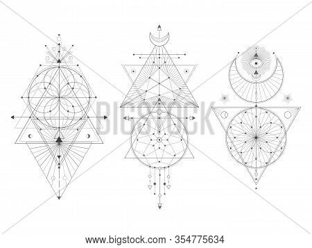 Vector Set Of Sacred Geometric Symbols On White Background. Abstract Mystic Signs Collection. Black