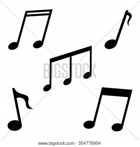 Music Notes Icon. Black Symbols Of Song, Sound, Melody On White Background. Notation For Musical Or