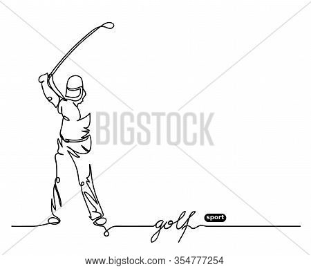 Golf Player Simple Background. Vector Minimalistic Banner. Golf Sport Event. One Continuous Line Dra
