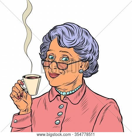 Elderly Woman Drinking Tea. Pop Art Retro Vector Illustration 50s 60s Style
